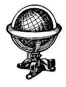 Globe - Man Made Object,Old-fashioned,Planet - Space,Sphere,Retro Revival,Antique,Engraving,Engraved Image,Map,Old,Cartography,Obsolete,Woodcut,Victorian Style,Ilustration,Isolated,Image,1940-1980 Retro-Styled Imagery,Black And White,Cartographer,Black Color,White,Physical Geography,Cut Out,Line Art,Classic,Isolated Objects,Illustrations And Vector Art,Isolated On White,Copy Space,Medicine And Science,Horizontal,White Background,Wood Block,High Contrast,Image Created 19th Century,Direction