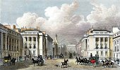Carriage,England,Image Created 19th Century,Georgian Style,London - England,Horse,Ilustration,Engraved Image,City,Regent Street,Etching,English Culture,Day,Color Image,Outdoors,Building Exterior,Busy,Urban Scene,People,Recreational Horseback Riding,Thomas Shepherd,Shepherd,Waterloo Place,Crowded,Illustrations And Vector Art,Built Structure,People,Old,Travel Locations