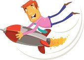 Rocket,Men,Business,Jet Pack,Flying,Competition,Cartoon,Businessman,Vector,Pilot,Taking Off,Speed,Chasing,Digitally Generated Image,Challenge,Characters,Concepts,Holding,Design,Embracing,Ilustration,Business,Clip Art,Cheerful,Illustrations And Vector Art,Concepts And Ideas