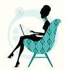 Women,Fashion,Silhouette,Computer,1940-1980 Retro-Styled Imagery,Laptop,Writing,Elegance,Cartoon,Furniture,Working,Chair,Ilustration,Vector,Glamour,Funky,People,Profile View,Correspondence,Diary,Typing,E-Mail,Cool,Seat,Characters,Style,Cute,Only Women,One Person,Femininity,Surfing the Net,Young Women,Vector Cartoons,Communication,Mid Adult Women,Illustrations And Vector Art,Concepts And Ideas,People