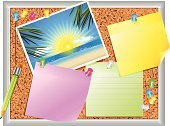 Postcard,Bulletin Board,Sun,Reminder,Beach,Frame,Sea,Pen,Summer,Thumbtack,Photograph,Office Supply,Note Pad,Message Pad,Billboard Posting,Vector Backgrounds,Metal,Shiny,Multi Colored,Isolated Objects,Illustrations And Vector Art,Objects/Equipment,Pencil,Household Objects/Equipment,Aluminum,Cork,Sheet,Ilustration
