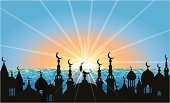 Eid-Il-Fitr,Ramadan,Islam,Mosque,Minaret,Middle East,Dawn,Sunrise - Dawn,Silhouette,Arabic Style,Vector,India,Landscape,Season,Turkish Culture,Urban Skyline,Middle Eastern Culture,Sea,Speed,Celebration,Ilustration,Turkey - Middle East,Sunbeam,Holidays And Celebrations,Religion,Night,Religion,Scenics,Concepts And Ideas,Blue,Panoramic,Focus on Shadow,Sunset,Shadow,Illustrations And Vector Art