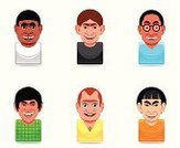 Men,Ugliness,Icon Set,Nerd,People,Set,Computer Icon,Ethnic,Human Face,Asian Ethnicity,Avatar,Vector,Ilustration,African Descent,People,Cartoon,Illustrations And Vector Art,Vector Icons,mulatto,Human Head,Ethnicity,Caucasian Ethnicity,Young Adult