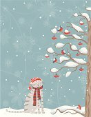 Winter,Domestic Cat,Snow,Christmas,Tree,Bird,New Year's Day,Christmas Card,Branch,Rowan Tree,Berry Fruit,Twig,Red,Cold - Termperature,Tree Trunk,New Year's,Cap,Holiday Backgrounds,Christmas,Holidays And Celebrations,Scarf,New Year,New Year's Eve,Cartoon,Stem,Snowflake
