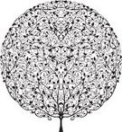 Tree,Flower,Circle,Floral Pattern,Topiary,Leaf,Hedge,Silhouette,Autumn,Bush,Ilustration,Vector,Ornate,Intricacy,Nature,Branch,Plant,Isolated,Beauty In Nature,Vector Florals,Plants,Nature,Illustrations And Vector Art,Isolated On White