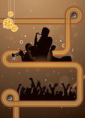 Jazz,Retro Revival,Striped,Silhouette,Musician,Music,1960s Style,Saxophonist,Disco Ball,Wave Pattern,Trumpet,Vertical,Pianist,Glitter,Jazz Festival,Speaker,Star Shape,Montreal,Musical Note,Audience,Group Of People,Multi Colored