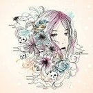 Human Skull,Women,T-Shirt,Teenage Girls,Sketch,Abstract,Flower,Beautiful,Computer Graphic,Beauty In Nature,Beauty,Bird,Cool,Nature,Island,Grunge,Swirl,Drawing - Art Product,Cloud - Sky,Ilustration,Funky,Illustrations And Vector Art,People,Beauty And Health,hand drawn,Young Adult,Fashion