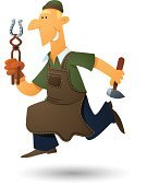 Blacksmith,Manual Worker,Apron,Running,Cartoon,Job - Religious Figure,Vector,Male,Urgency,Occupation,Equipment,Isolated On White,Work Tool,Speed,White Background,Ilustration,Hammer