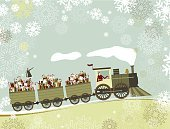 Christmas,Train,Santa Claus,Retro Revival,Old-fashioned,Snowflake,Winter,Elf,Snow,Pattern,Locomotive,Vector,Antique,Steam Train,Gift,Driving,Steam Engine,Design,Horizontal,Vector Cartoons,Holiday Symbols,Holidays And Celebrations,Illustrations And Vector Art,Christmas