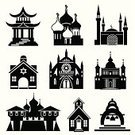Pagoda,Church,Mosque,Synagogue,Temple - Building,Symbol,Japanese Culture,Cathedral,Silhouette,Built Structure,Vector,Buddhism,Dome,Monastery,Minaret,Catholicism,Judaism,Architecture,Spire,Religion,Gothic Style,Orthodox Church,Black Color,Spirituality,Building Exterior,Basilica,Outline,White,Christianity,Black And White,Tower,Design Element,Cross,Protestantism,Generic Location,Design,Group of Objects