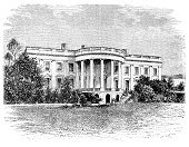 White House,House,Engraved Image,Old,Ilustration,Government,Old-fashioned,USA,History,Building Exterior,Black And White,Image Created 19th Century,Architecture And Buildings,presidency,1880,Image Created 1880-1889