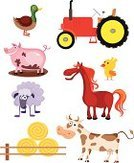 Tractor,Farm,Animal,Cow,Cartoon,Agriculture,Cute,Humor,Vector,Horse,Rural Scene,Non-Urban Scene,Pets,Sheep,Animal Themes,Bird,Pig,Set,Ilustration,Isolated,Animals And Pets,Mammal,Illustrations And Vector Art,Farm Animals,Remote,Collection