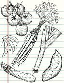 Vegetable,Food,Sketch,Tomato,Ilustration,Groceries,Carrot,Doodle,Drawing - Art Product,Vector,Organic,Line Art,Scribble,Art,Zucchini,Sweet Potato,Design,Healthy Eating,Abstract,Style,Lined Paper,Ingredient,Paper,Group of Objects,Computer Graphic,Design Element,Leek,Raw Food,Seasoning,Snow Pea,Cool,Clip Art,Modern,Food And Drink,Illustrations And Vector Art,Rough,Funky,Raw Food,Fruits And Vegetables,Pen And Marker