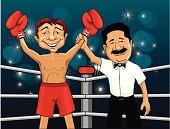 Boxing,Boxing Ring,Winning,Success,Referee,Fighting,Sport,Fist,Boxing Glove,Two People,Vector,Sports Glove,Fun,Cheerful,Victory,Strength,Sports And Fitness,People,Achievement,Competition,Camera Flash,Ilustration,Competitive Sport,First Place,Satisfaction,Confidence,Arms Raised,Fist Up,Competition,Illustrations And Vector Art,Computer Graphic,Smiling