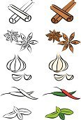 Cinnamon,Spice,Garlic,Basil,Anise,Herb,Ilustration,Star Anise,Ingredient,Vector,Leaf,Chili Pepper,Scented,Food,Illustrations And Vector Art,Food And Drink,Brown,Green Color