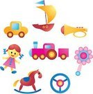 Doll,Toy,Train,Horse,Symbol,Trumpet,Vector,Car,Set,Sailing Ship,Nautical Vessel,Wheel,Babies And Children,Isolated-Background Objects,Vector Icons,Isolated Objects,Lifestyle,Collection,Toy Rattle,Illustrations And Vector Art