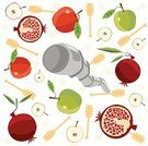 Pomegranate,Rosh Hashana,Judaism,Symbol,Apple - Fruit,Holiday,Illustrations And Vector Art,Holidays And Celebrations,Religion,Concepts And Ideas,Honey Dipper,Half Full,Religion,Cultures
