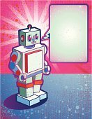 Robot,1940-1980 Retro-Styled Imagery,Retro Revival,Old,Cartoon,Toy,Speech Bubble,Futuristic,Pink Color,Textured Effect,Green Color,Machine Part,Ilustration,Copy Space,Sunbeam,Grunge,Young Adults,Lifestyle,Illustrations And Vector Art,Babies And Children