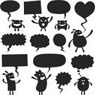 Speech Bubble,Thought Bubble,Funky,Talking,Happiness,Cheerful,Furious,Facial Expression,Anger,Smiling,Love,Heart Shape,Vector,Copy Space,Set,Blank,Collection