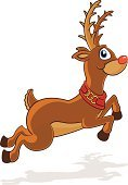 Reindeer,Rudolph The Red-nosed Reindeer,Deer,Christmas,Cartoon,Winter,Running,Ilustration,Animal,Jumping,Cute,Vector,Smiling,Antler,Holidays And Celebrations,Christmas,Illustrations And Vector Art,Vector Cartoons,Cheerful,Happiness,Mammal,Animals And Pets