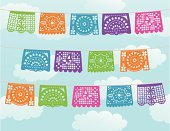 Carnival,Banner,Paper,Multi Colored,Decoration,Sky,Backgrounds,Cloud - Sky,Cloudscape,Blue,Three Objects,Vector Backgrounds,Parties,Illustrations And Vector Art,Holidays And Celebrations