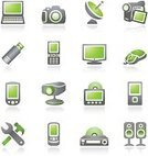 Laptop,Symbol,Computer Icon,Camera - Photographic Equipment,Television Set,Green Color,Icon Set,Sign,Computer Mouse,Electrical Equipment,Vector,Store,Gray,Photography,Appliance,White,Home Video Camera,Projection Equipment,USB Flash Drive,Connection,Conformity,Sound,Computer Monitor,Mobile Phone,Internet,Playing,Web Page,Antenna - Aerial,Palmtop,Personal Data Assistant,Illustrations And Vector Art,Mobility,Business,Business Symbols/Metaphors,Arts And Entertainment,Arts Symbols,Vector Icons,Speaker