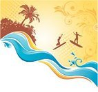 Wave,Travel,Surfing,Beach,Summer,Abstract,Computer Graphic,Backgrounds,Tropical Climate,Vacations,Ilustration,People,Sea,Tree,Palm Tree,Water,Silhouette,Clip Art,Creativity,Tourism,Extreme Sports,Blue,Backdrop,Healthy Lifestyle,Leaf,Style,One Person,Island,Travel Backgrounds,palm-tree,Vector,Botany,Brown,Summer,Nature,Travel Locations,Speed,Yellow,Curled Up,Ornate,Illustrations And Vector Art,Nature
