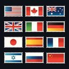 Flag,Postage Stamp,National Flag,Canada,UK,France,USA,Italy,Australia,Japan,China - East Asia,Russia,Germany,Israel,Vector Icons,Travel Backgrounds,Vector,Illustrations And Vector Art,Travel Locations