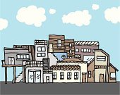 Slum,House,Poverty,Village,Community,Human Settlement,Variation,Town,Sketch,Backgrounds,Vector,Crowded,Cottage,Architecture And Buildings,Illustrations And Vector Art,Vector Backgrounds,Vector Cartoons,Childishness,Homes,Unity,Bungalow,Pen And Marker,Detached House,Semi-Detached House,Innocence