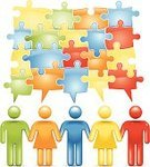 Teamwork,Team,Stick Figure,People,Connection,Jigsaw Puzzle,Solution,Holding Hands,Symbol,Ideas,Problems,Speech Bubble,Color Image,Concepts,Ilustration,Information Symbol,Vector,Shiny,In A Row,Multi Colored,Simplicity,Design Element,Teamwork,People,Illustrations And Vector Art,Concepts And Ideas