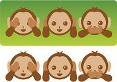 See no Evil Hear no Evil Speak no Evil,Monkey,See no Evil,Speak no Evil,Icon Set,Hear no Evil,Cartoon,Ignoring,Cute,Computer Graphic,Covering,Isolated,Front View,Vector,Ilustration,Rejection,Image Created 2000s,Color Image,Image Created 21st Century,Animals And Pets,Horizontal,Communication,Sayings,Isolated On Green,Art and Craft Product,Digitally Generated Image,Baby Animals,Art Product,Brown,Ideas,Concepts And Ideas,Cut Out,No People,In A Row,Clip Art,Illustrations And Vector Art,Image,Vector Cartoons,Arrangement,Colored Background,Man Made Object