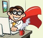 Nerd,Computer,Superhero,Cartoon,Office Worker,Office Interior,Men,Desk,Using Computer,Working,One Person,Business,Busy,Technology,Coffee - Drink,Business Person,Occupation,Cape,Typing,Eyeglasses,Worried,White Collar Worker,Vector,Tie,Computer Equipment,Ilustration,Shirt and Tie,Information Equipment,office windows,Businessman,Only Men,Computer Keyboard,Clip Art,Desktop PC,Illustrations And Vector Art,Smiling,Vector Cartoons,Job - Religious Figure