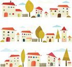 Town,House,City,Cartoon,Built Structure,Street,Ilustration,Building Exterior,Tree,Door,Window,Vector,Urban Skyline,Cityscape,Facade,Design Element,Posing,Fantasy,Nature,Creativity,Isolated,Cut Out,Cloud - Sky,Comfortable,Cloudscape,Railing,Day,Positive Emotion,Vibrant Color,Worm,Bush,Horizon Over Land,Architecture And Buildings,Illustrations And Vector Art,Concepts And Ideas