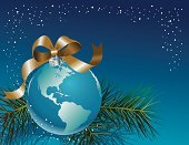 Globe - Man Made Object,Christmas,Holiday,Earth,Greeting Card,World Map,Christmas Card,Decoration,Symbols Of Peace,Christmas Ornament,Ribbon,Peace On Earth,Sphere,Winter,Map,Bow,Christmas Decoration,Mexico,USA,Shiny,Arctic,Northern Hemisphere,North America,Dome,Holidays And Celebrations,South America,Holiday Backgrounds,Illustrations And Vector Art,The Southern Hemisphere,Religious Celebration,Canada,Twig,Evergreen Tree,Branch
