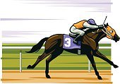 Horse Racing,Horse,Racehorse,Sports Race,Jockey,Competition,Jockey Silks,Running,Vector,Thoroughbred Horse,Riding,Speed,Ilustration,Colors,Railing,Saddle,Day,Sports Track,Riding Crop,Rein,Side View,Riding Tack,One Person,Animals And Pets,Sports And Fitness,Mammals,vector illustration,Bit,Outdoors,furlong,gelding