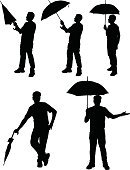 Umbrella,Silhouette,Rain,Men,Parasol,Vector,Raindrop,Weather,Isolated,Thunderstorm,Drop,Tropical Climate,People,Nature,Dew,Isolated On White,Illustrations And Vector Art