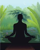 Yoga,Zen-like,Meditating,Buddhism,Lotus Position,Vector,Serene People,Contemplation,Tranquil Scene,Tropical Rainforest,Formal Garden,Ornamental Garden,Pond,Green Color,Ilustration,Blue,Black Color,Water,Banana Tree,Tropical Bush,Tropical Tree,Brown,Water Lily,Palm Tree,Lush Foliage,Gardens,Reed - Grass Family,Religion,Nature,Illustrations And Vector Art,Concepts And Ideas