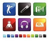 Radio Dj,Headphones,Speaker,Sound,Music,Icon Set,Microphone,Red,Vector,Sound Wave,Computer Icon,Stick Figure,Square Shape,Entertainment,Turntable,Black Color,Empty,Technology,Design,Blue,Green Color,White Background,Sparse,Audio Equipment,Ilustration