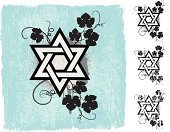 Judaism,Star Of David,Floral Pattern,Religion,Distressed,Dirty,Damaged,Spirituality,Flower,Blue,Vector,Ilustration,Stained,Scratched,Stem,Computer Graphic,Unhygienic,Set,Leaf,Digitally Generated Image,Torn,Old-fashioned,Star Shape