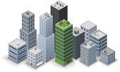 Built Structure,Isometric,Building Exterior,Green Color,Business,Town,Environment,Environmental Conservation,Vector,Office Building,Skyscraper,Apartment,Ilustration,White Background,Tall,Standing Out From The Crowd,Gray,Financial District,Bank,No People,Stock Exchange,Isolated On White