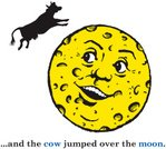 Cow,Jumping,Cheese,Moon Surface,Picture Book,Space,Nursery,Smiling,Child,Offspring,Book,Fantasy,Vector,Meteor Crater,Illustrations And Vector Art,Cheerful,Happiness