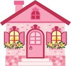 House,Dollhouse,Pink Color,Cute,Cottage,Door,Toy,Window,Small,Village,1940-1980 Retro-Styled Imagery,Brick,Beauty,Mansion,Flower,Old-fashioned,Town,Old,Holiday Villa,Comfortable,Decoration,Symbol,Fun,Clip Art,Suburb,Attic,Cheerful,Daisy,Roof,Sale,Design Element,Urban Scene,Selling,Collection,Vector Cartoons,Architecture And Buildings,Decor,Illustrations And Vector Art,Homes,Single Object,Plant