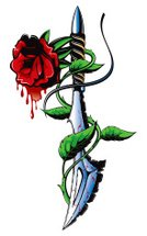 Tattoo,Rose - Flower,Dagger,Blood,Flower,Vector,Mascot,Knife,Sign,Old,tattoes,Blade,Weapon,Illustrations And Vector Art