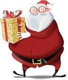 Santa Claus,Christmas,Christmas Present,Gift,Vector,Boot,Eyeglasses,Characters,Illustration Technique,Ilustration,Isolated,Box - Container,Bow,Cute,Mascot,Smiling,Beard,Gift Box,Santa Hat,Belt,Smirking,Thick Rimmed Spectacles,Blanco - Texas,Carnival,Northern European Descent,Pot Belly,Glove,Isolated On White,Amarillo,Clip Art,Celebration Event,Red,White Hair,Caucasian Ethnicity