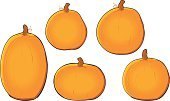 Pumpkin,Orange Color,Isolated,Isolated On White,Illustrations And Vector Art,Vector Ornaments,October,Autumn,Vector,Small Group of Objects,Ilustration,Vegetable,Halloween