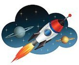 Rocket,Space,Spaceship,Taking Off,Planet - Space,Cartoon,Flame,Space Exploration,Fire - Natural Phenomenon,Vector,Flash,Speed,Space Mission,Moving Up,Flying,Travel,Exploration,Orbiting,gradient mesh