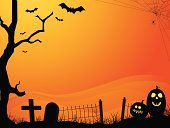 Halloween,Backgrounds,Spider,Spider Web,Tombstone,Spooky,Fence,Tree,Autumn,Ilustration,Horror,Vector,Orange Color,Holiday,Tomb,Pumpkin,Horizontal,Jack O' Lantern,Black Color,Fog,Bat - Animal,Silhouette,Sunset,Halloween,Cross,Holidays And Celebrations,October,Copy Space,Cross Shape