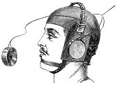 Engraving,Engraved Image,Victorian Style,Retro Revival,Old-fashioned,Headphones,Men,Microphone,Old,Antique,Human Head,Underwater Diving,Sea,Obsolete,Equipment,Sound,Senior Adult,Engineering,Work Helmet,Metal,Helm,History,Objects/Equipment,White Background,Equipment,Black And White,diving-helmet,Horizontal,Industrial Objects/Equipment,The Past,Copy Space,Medicine And Science,Scuba Helmet
