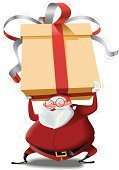 Santa Claus,Christmas,Gift,Large,Box - Container,Christmas Present,Vector,Boot,Cute,Clip Art,Bow,Ilustration,Gift Box,Eyeglasses,Santa Hat,Effort,Red,Glove,Characters,Isolated,Pot Belly,White Hair,Thick Rimmed Spectacles,Northern European Descent,Celebration Event,Oversized,Amarillo,Caucasian Ethnicity,Belt,Isolated On White,Beard,Blanco - Texas