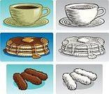 Pancake,Woodcut,Food,Coffee - Drink,Etching,Coffee Cup,Sausage,Breakfast,Old-fashioned,Ilustration,Black And White,Food And Drink,Vector,Isolated Objects,Series,Illustrations And Vector Art,Black Coffee,Color Image,Vector Cartoons,Ink Drawing,Syrup,Collection,Isolated On Blue,Grayscale,Food And Drink,Isolated